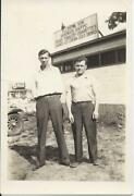 310p Vintage Photo 2 Young Men Standing In Front Of Ellery Son Sandwich Shoppe