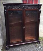 R. J. Horner 2 Door Carved Lady Mahogany Bookcase