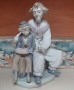 Nao By Lladro 701 G Lesson Of Music Clown And Boy Accordion Lesson - Mwob,rv450