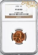 1952 Ngc Pf 68 Rd Lincoln Wheat Cent 1c Proof 68 Pr Red One Penny Registry T6