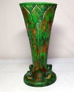 Weller Pottery Coppertone 4 Frog W Lily Pads Lamp Blank Extremely Rare