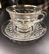 Old Vintage American Clear By Fostoria Flared Cup And Saucer Set Elegant Cubed