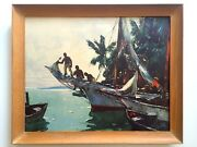 Anthony Thieme Rare Mid Century Framed Lithograph Print Southern Waters Nassau