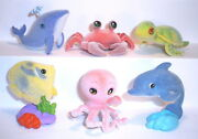 Velvety Flocked Toy - Pet Zoo - Sea World - Complete Set + 6 Cards + Bpz