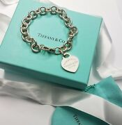 And Co Please Return To Sterling Silver Heart Charm Bracelet 8