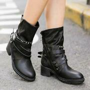 Womens Buckle Belt Genuine Leather Vintage Mid Calf Boots Western Cowboy Shoes