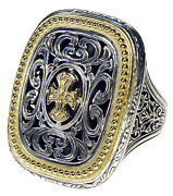 Gerochristo 2625 Maltese Cross Solid 18k Gold And Sterling Silver Medieval Ring