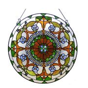 Round Victorian Style Handcrafted Stained Cut Glass 24 Window Panel