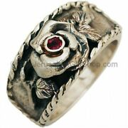 Biblical Rose Of Sharon Silver Ring With A Real Ruby Handmade In Jerusalem