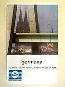 Rare Vintage Mid Century Klm Germany Collector Lithograph Print Travel Poster