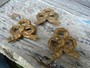 Antique 1900s French Ormolu Bows /hardware Adornments / Set Of 3