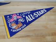 Vintage 1950's - 1960's College All Stars Pennant Soldier Field Chicago Football