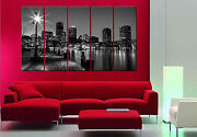 Boston Skyline Ready To Hang 5 Piece Mounted Picture/surpassed Stretched Canvas