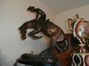 Rare Large Sculpture Statue By Frederic Remington Bronze Rattle Snake