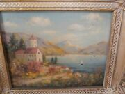 Antique Oil Painting On Board View Of Quiet Place Villa Signed By P Wallace