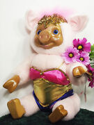 Pig Robert Raike's Carved In Wood Violet Pink Pig Circus Collection Plush G