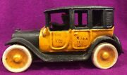 Cast Iron Yellow Arcade Taxi Cab Arcade With Driver Toy Wheels 1920s Replica