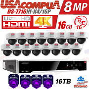 Hikvision 8mp 4k Nvr Security System 16ch Kit Camera Van/proof H.265+ Hdd Purple