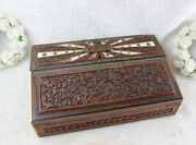 Rare Antique German Hunting Theme Birds Dogs Writing Box Set Inlaid Wood Carved