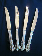 Nos Set Of 4 Dinner Knives Vintage Rogers Silverplate Chalice Harmony Pattern