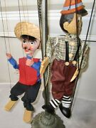 Lot Of 2 Vintage Wooden Marionettes Pinnochio 16 And A Mexican With Sombrero 14