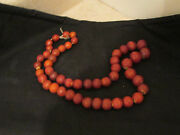 S38 Antique Vintage Native American Glass Clay Red Bead Necklace Hand Strung