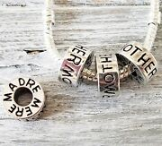 20 Silver Mother Madre Mere Charms - Large Hole Beads - Eternity Circle Spacers