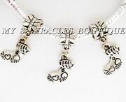 2 5 10 Baby Booties Charms   Large Hole Stocking Beads   For Bracelets Necklaces
