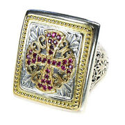 Gerochristo 2689 Solid 18k Gold, Sterling Silver And Rubies Medieval Cross Ring