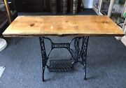 Beautiful Handmade In Maine Wooden Table On Singer Sewing Machine Iron Base