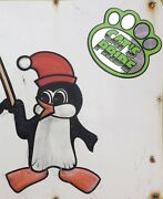 Awesome Freeport Penguins Snowmobile Club Maine Tin Sign 72x18 Wow