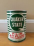 Vintage Quaker State F-l-m A-t Fluid Motor Oil 1 Qt Can Tin Advertising Sign