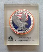 Vintage United States Armed Forces Usaa Exceptional Service Award Plaque Medal