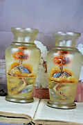 Pair French Glass Painted Vases Circa 1950 Landscape Farm Mill