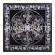29 Black Marble Dining Table Top Seashell Parrot Inlaid Fine Art Garden Decor
