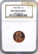 1967 Ngc Ms 67 Sms Rd Red Cameo Lincoln Cent 1c Special Mint Set Penny M117