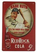 Babe Ruth Red Rock Cola Tin Metal Sign Unique Wall Decor Sale