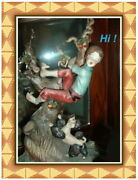 Capodimonte Boy On The Tree Chased By Dog W. Cabrelli Limited Ed. Italy