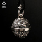 Antique Chinese 925 Sterling Silver China Dragon Necklace Bell Pendant Jewelry