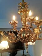 Antique Polished Brass Chandelier - Converted From Gas - 10 Lights Glass Shades