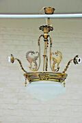 Antique French Gothic 3 Arm Dragon Castle Chandelier Crystal Glass Coupe Lamp