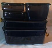 New Tupperware Microwave Rock Nand039 Serve Large 5 Pc. Black W/red Rocker Vent