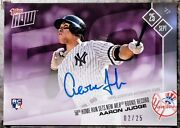 2017 Topps Now 654 Aaron Judge 50th Home Run Rookie Record Auto Rc 2- 25 Roy