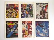 Rare Vtg Mid Century 1960and039s Marc Chagall Color Lithograph Prints Folio Set Of 6