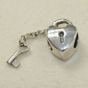 New Authentic Pandora Key To My Heart Charm 790971 Bead W Suede Pouch