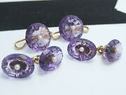 Antique 14k Yellow Gold Amethyst And Seed Pearl Cufflinks And Stud Link Buttons Set