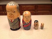 Vintage Russian Nesting Dolls 4 Signed Sister Cities Dixon/dickson Political