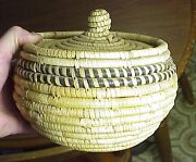 Mission Native American Indian Basket With Tight Lid Woven Blue Black Details