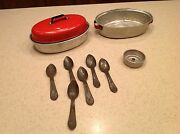 Vintage Pretend Play Roasting Pans Spoons Coffee Strainer Toy Children's