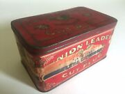 Vintage Early 1900and039s Union Leader Cut Plug Tobacco Tin Metal Box With Hinged Lid